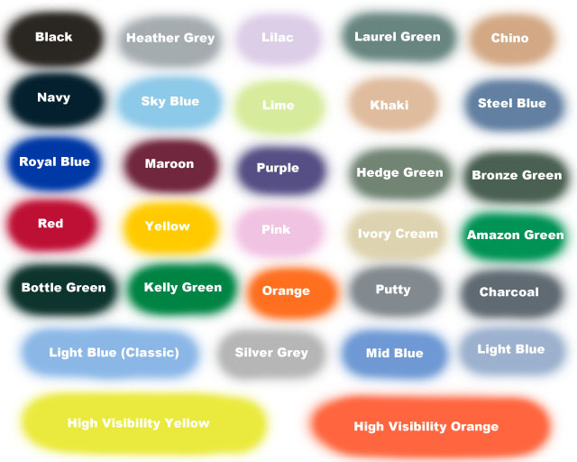 Colour Chart Busybee Embroidered Clothing